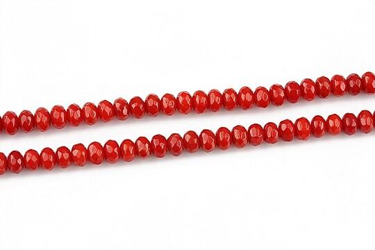 Coral rosu rondele fatetate 2,5x4mm