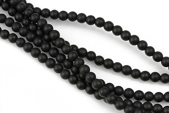 Agate negre efect mat sfere 4mm (10 buc.)