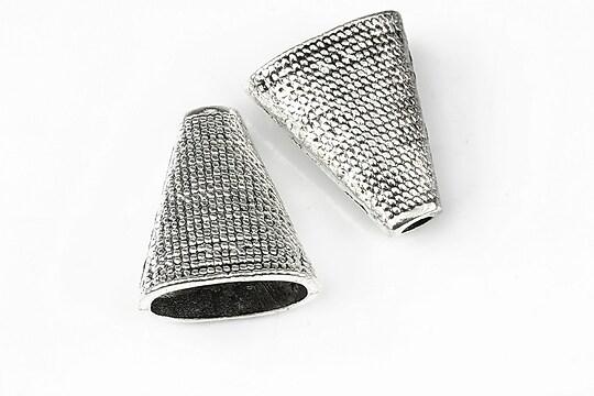 Capacele margele argintiu antichizat 22x17mm