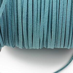 Snur suede (imitatie piele intoarsa) 3x1mm, turcoaz inchis (1m)
