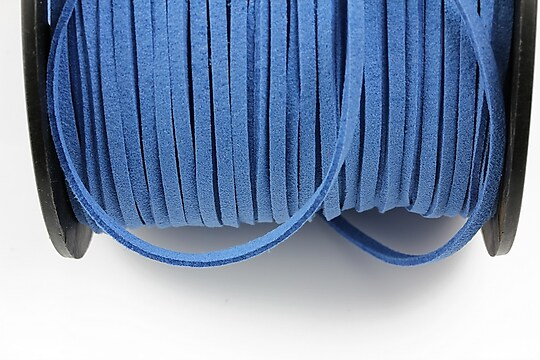 Snur suede (imitatie piele intoarsa) 3x1mm, albastru (1m)