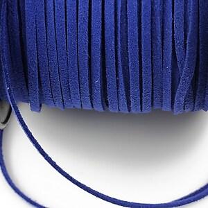 Snur suede (imitatie piele intoarsa) 3x1mm, albastru cobalt (1m)
