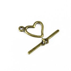 Inchizatoare toggle bronz inima 17x15mm