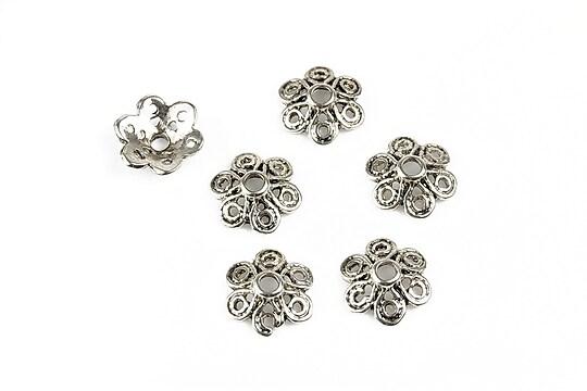 Capacele margele argint tibetan floare 11,5mm