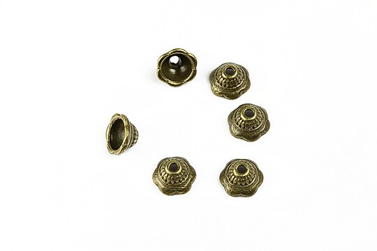 Capacele margele bronz  floare 8x4mm