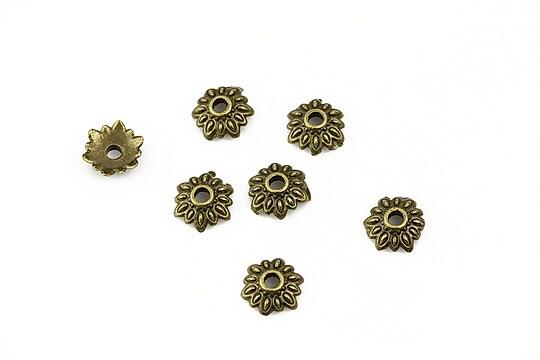 Capacele margele bronz floare 8mm (10 buc.)