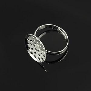 Baza de inel argintie, reglabila, sita 16mm