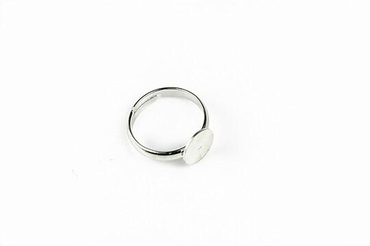 Baza de inel argintiu inchis, reglabila, platou 8mm