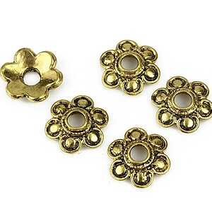 Capacele margele auriu antichizat floare 15mm
