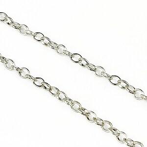 Lant argintiu inchis zale gravate 4,5x3,5mm (49cm)