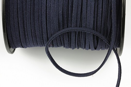 Snur suede (imitatie piele intoarsa) 3x1mm, albastru inchis (1m)