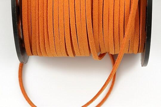 Snur suede (imitatie piele intoarsa) 3x1mm, portocaliu (1m)