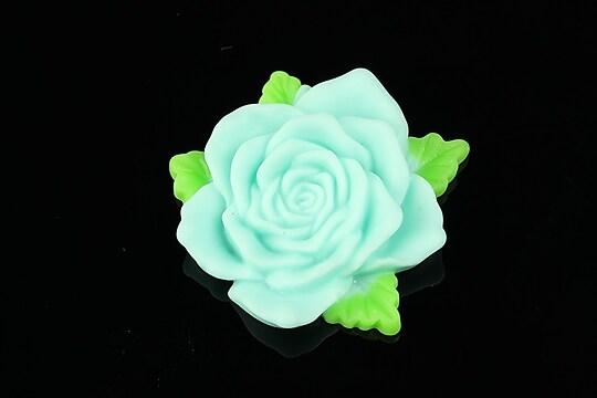 Cabochon rasina trandafir cu frunzulite 36mm - turcoaz deschis mat