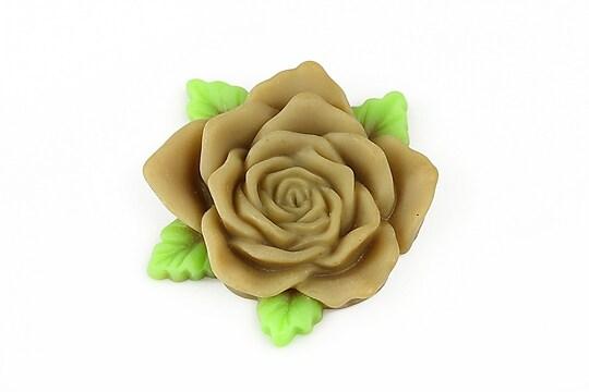 Cabochon rasina trandafir cu frunzulite 36mm - maro deschis mat