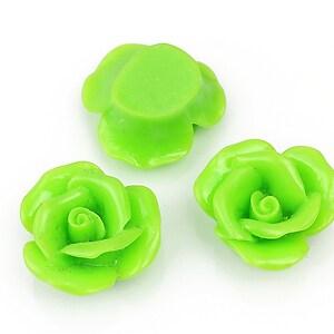 Cabochon rasina trandafir 20mm - verde