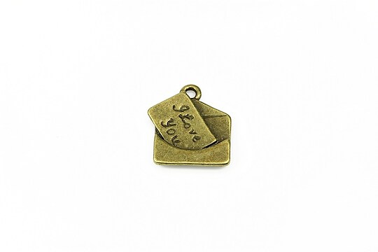 Charm bronz scrisoare 18x15mm