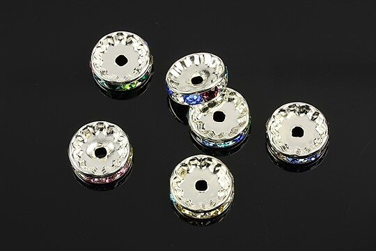 Distantiere cu rhinestone multicolore 4x12mm