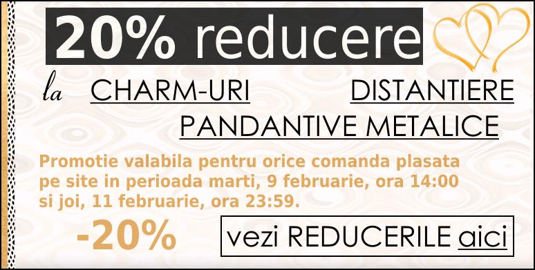 Reducere de 20% la charm-uri, pandantive metalice si distantiere!