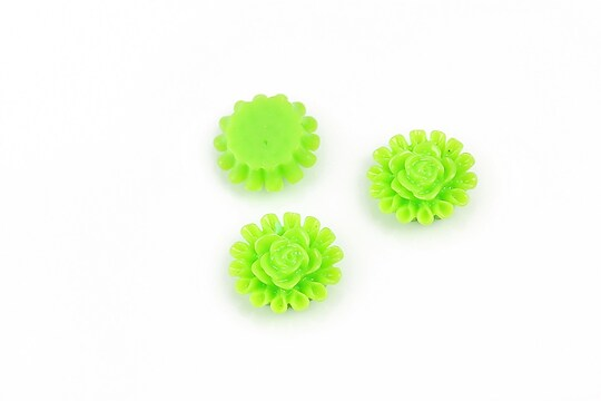 Cabochon rasina trandafir 13mm - verde