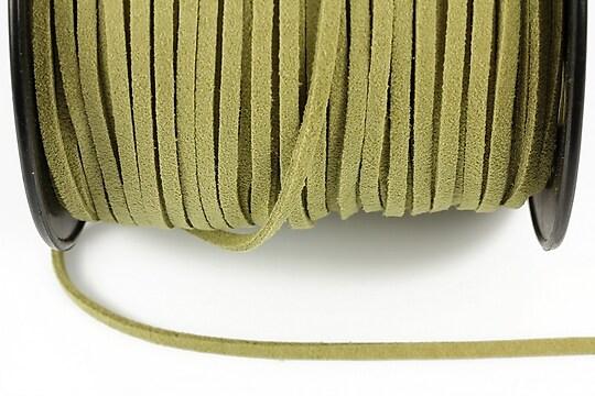 Snur suede (imitatie piele intoarsa) 3x1mm, verde kaki (5m)