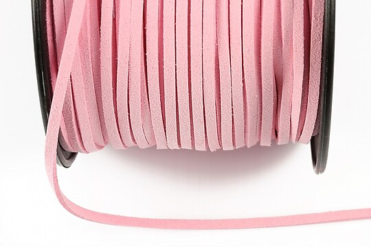 Snur suede (imitatie piele intoarsa) 3x1mm, roz deschis (5m)