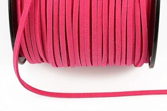 Snur suede (imitatie piele intoarsa) 3x1mm, roz bonbon (5m)