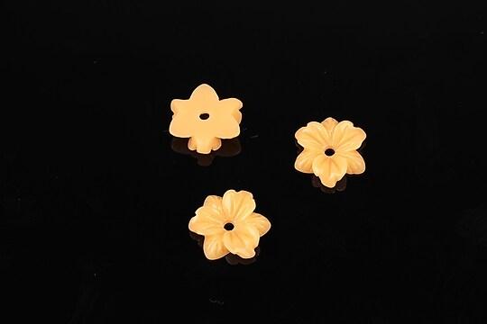 Cabochon rasina floare 10mm - portocaliu deschis