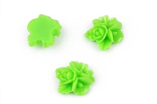 Cabochon rasina buchet de flori 16x15mm - verde