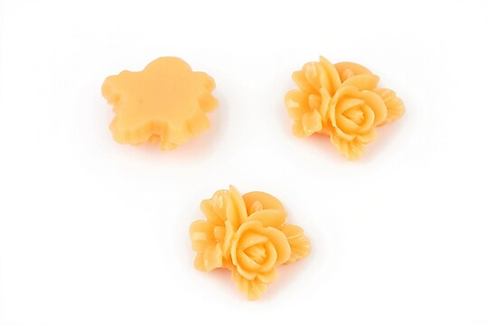 Cabochon rasina buchet de flori 16x15mm - portocaliu deschis