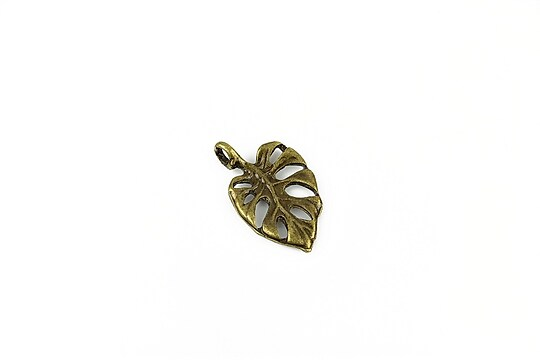 Charm bronz frunza 19x12mm