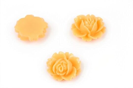 Cabochon rasina trandafir 16x18mm - portocaliu deschis
