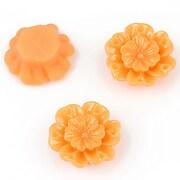 Cabochon rasina floare 18mm - portocaliu