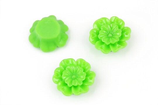 Cabochon rasina floare 18mm - verde