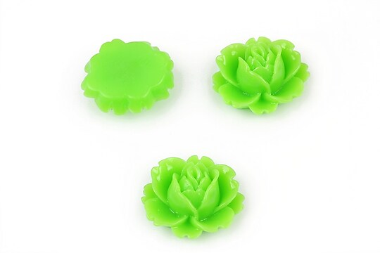 Cabochon rasina trandafir 16x18mm - verde