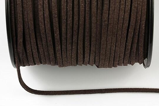 Snur suede (imitatie piele intoarsa) 3x1mm, maro inchis (1m)