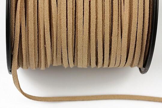 Snur suede (imitatie piele intoarsa) 3x1mm, beige (5m) - cod 173