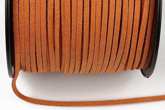 Snur suede (imitatie piele intoarsa) 3x1mm, portocaliu (1m) - cod 178