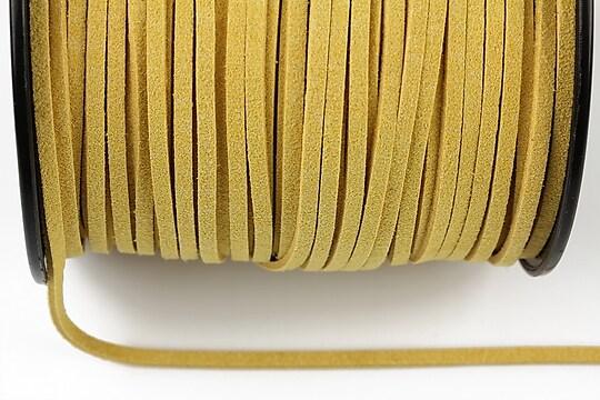 Snur suede (imitatie piele intoarsa) 3x1mm, galben (5m) - cod 180