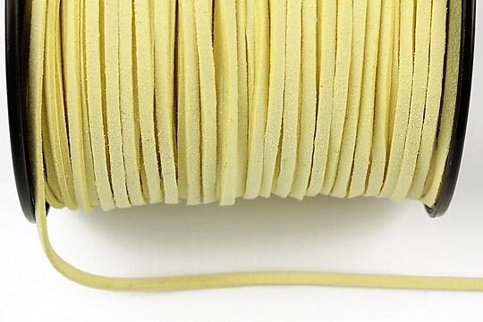 Snur suede (imitatie piele intoarsa) 3x1mm, galben deschis (1m) - cod 181