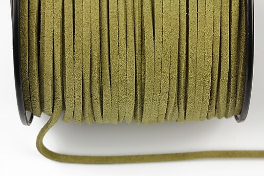 Snur suede (imitatie piele intoarsa) 3x1mm, verde kaki (5m) - cod 182