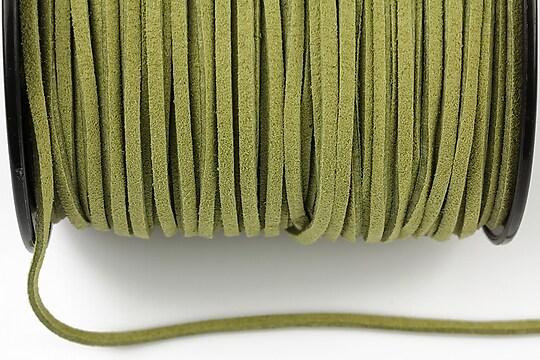 Snur suede (imitatie piele intoarsa) 3x1mm, verde olive (5m) - cod 184