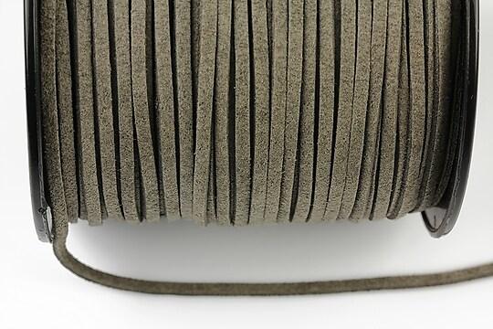 Snur suede (imitatie piele intoarsa) 3x1mm, gri (5m) - cod 188