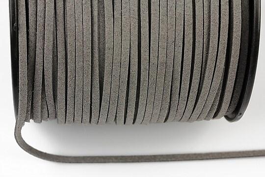 Snur suede (imitatie piele intoarsa) 3x1mm, gri (5m) - cod 189