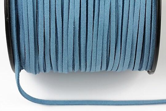 Snur suede (imitatie piele intoarsa) 3x1mm, albastru (5m) - cod 195