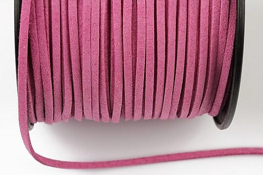 Snur suede (imitatie piele intoarsa) 3x1mm, roz (5m) - cod 200