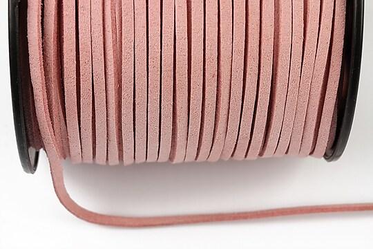 Snur suede (imitatie piele intoarsa) 3x1mm, roz deschis (5m) - cod 202
