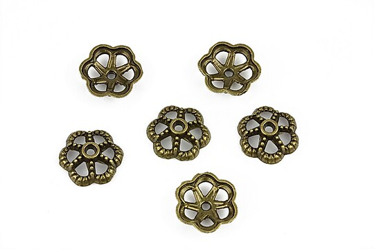 Capacele margele bronz floare 12,5mm