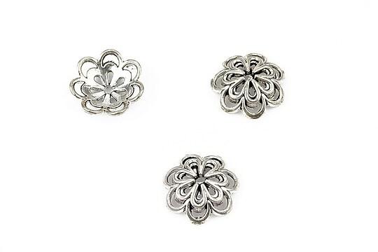 Capacele margele argintiu antichizat floare 14mm