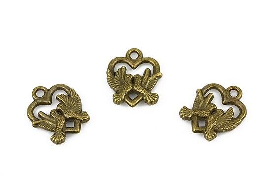 Charm bronz inima cu pasarele 18,5x15mm