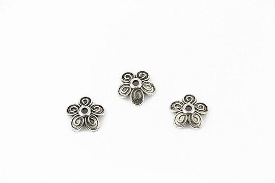 Capacele margele argintiu antichizat floare 9,5mm